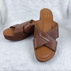 Kork-Ease Leather Wedge Cross Toe Slide Sandals Brown Size 11